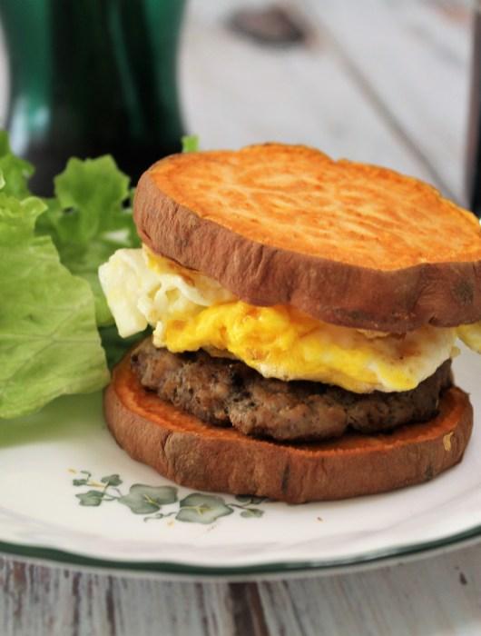 "Whole 30 Breakfast Sandwich with Homemade Pork-Apple Sausage and Sweet Potato ""Buns"""