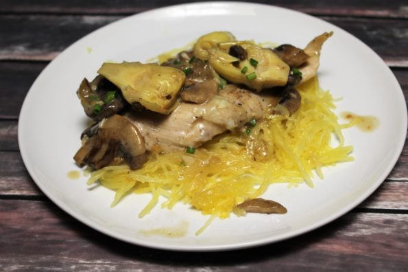 This Creamy Artichoke Mushroom Chicken is an easy to make, romantic meal with great flavor! Whole 30 compliant and paleo!