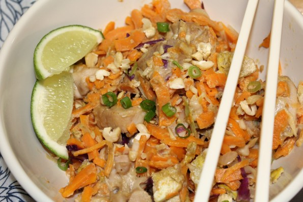 Whole30 Chicken Pad Thai with Sweet potato noodles - paleo, gluten-free and soy-free