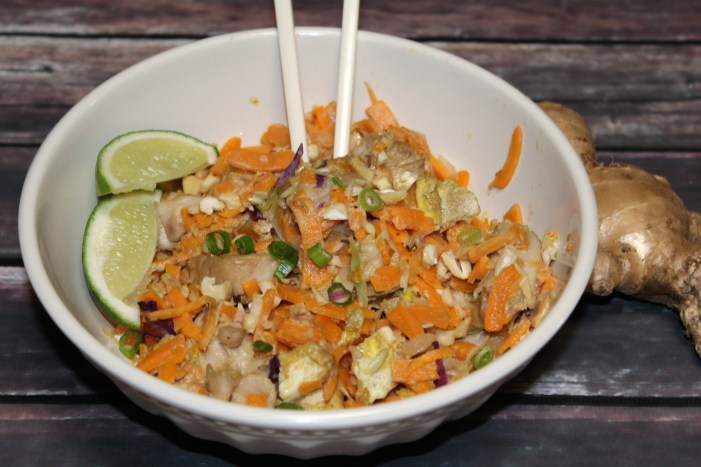 Whole 30 Chicken Pad Thai with Sweet potato noodles in a bowl