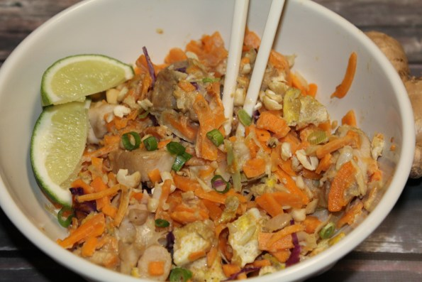 Paleo and Whole30 Chicken Pad Thai with Sweet potato noodles - gluten-free and soy-free