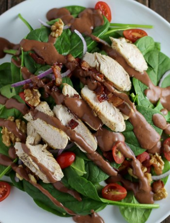 This Sauteed Chicken Salad with Raspberry Bacon Vinaigrette is a delicious salad with a tasty dressing!