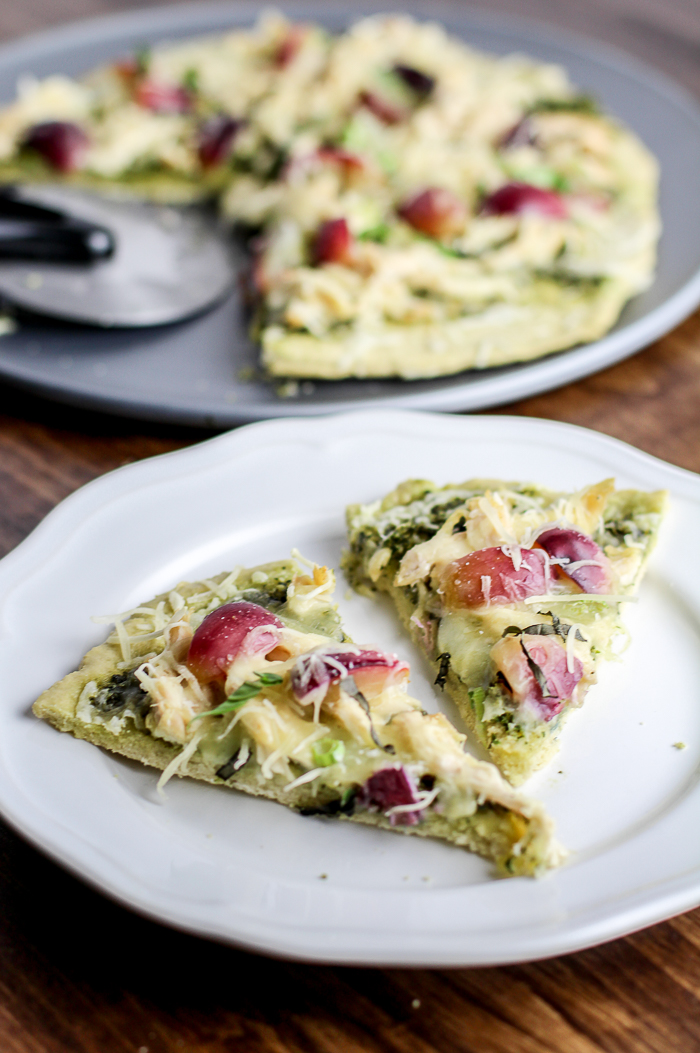 Primal Chicken Pesto Pizza with Red Grapes