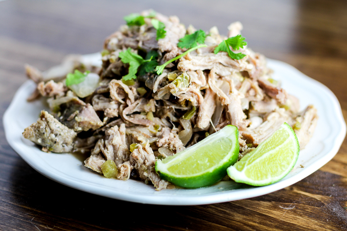 Crockpot Green Chile Pork Carnitas - a bit of a kick and a lot of flavor!