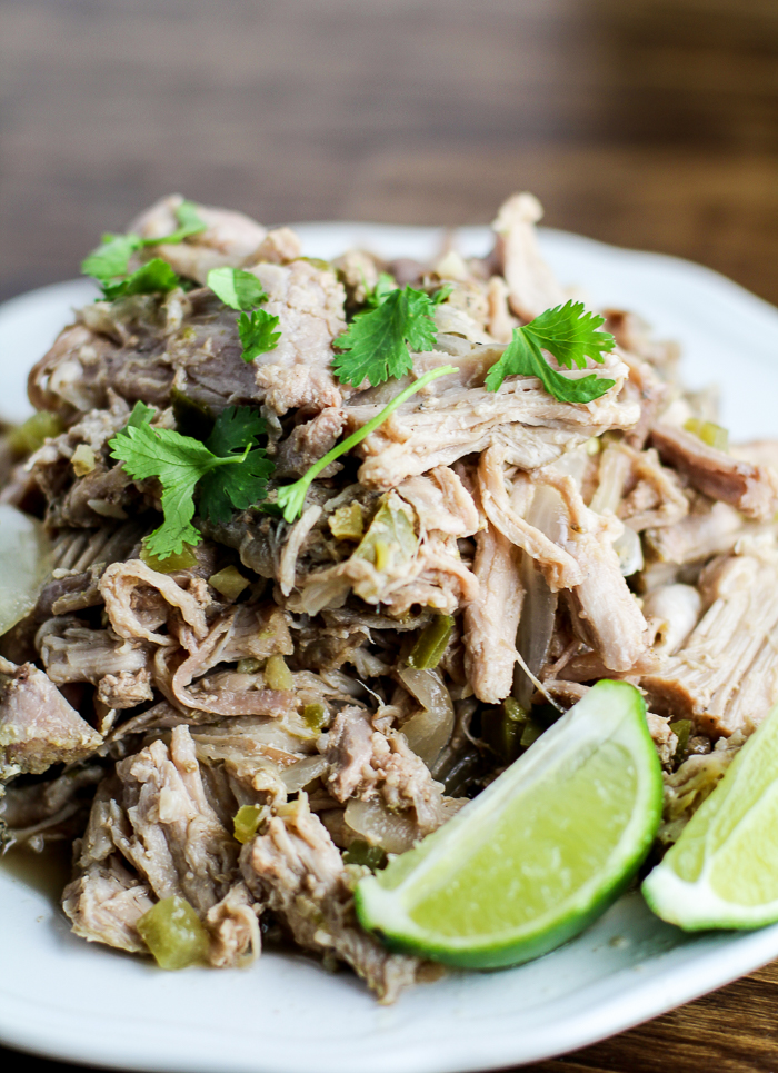 Slow Cooker Green Chile Pork Carnitas - simple and packed with flavor!