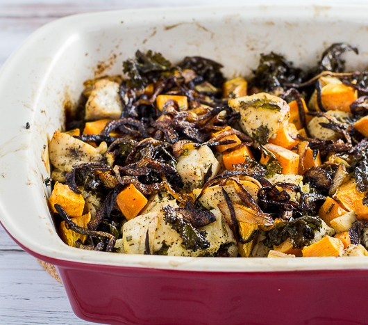 Paleo Chicken Kale Sweet Potato Bake topped with Bacon and Caramelized Onions