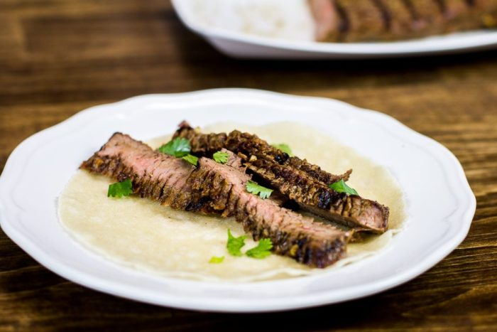 Paleo Grilled Flank Steak on Siete Foods Tortilla