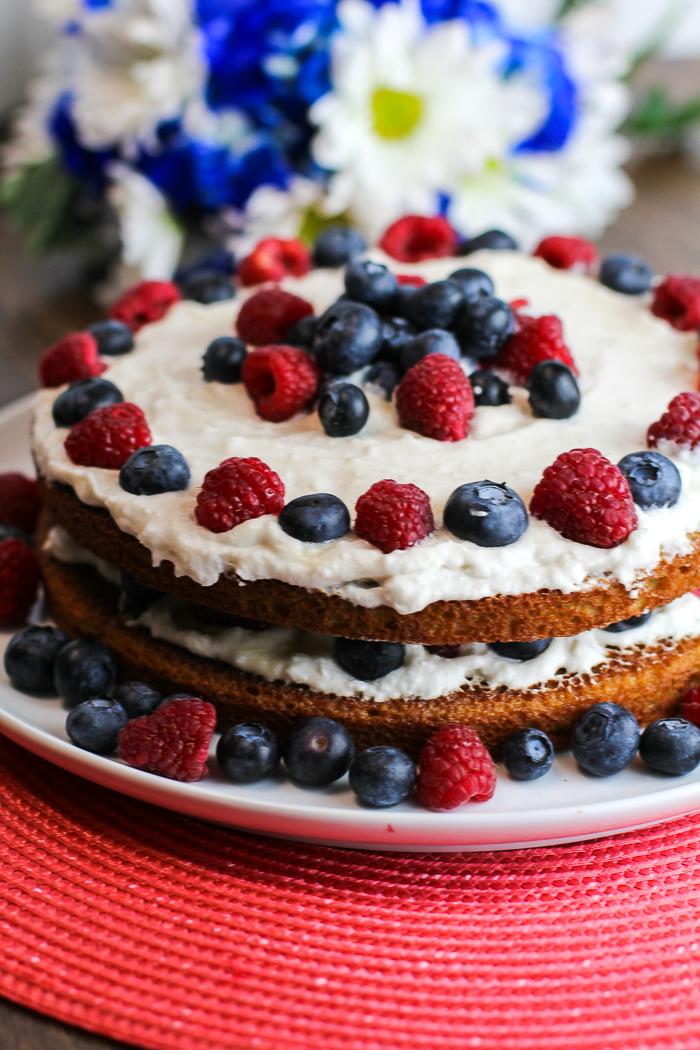 Patriotic Paleo Lemon Raspberry Blueberry Cake