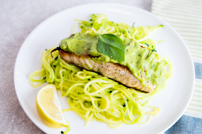 Pan Seared Salmon with Creamy Lemon Basil Avocado Sauce and Zoodles