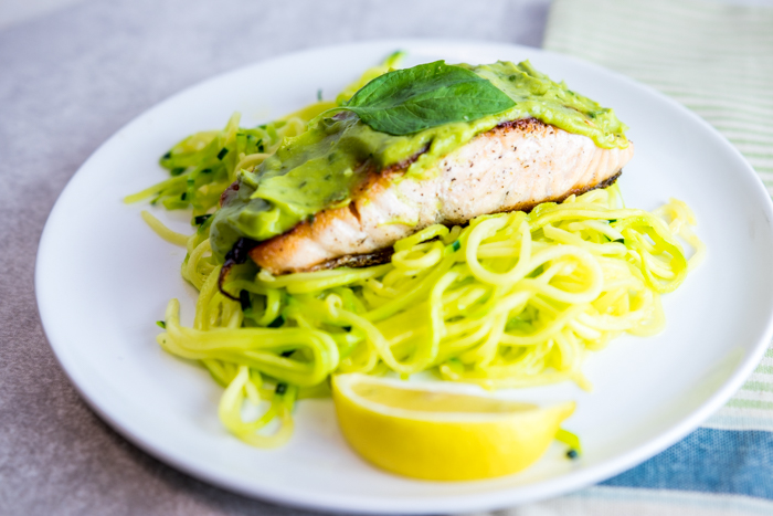 Lemon Basil Avocado Salmon with Zoodles - paleo, whole 30