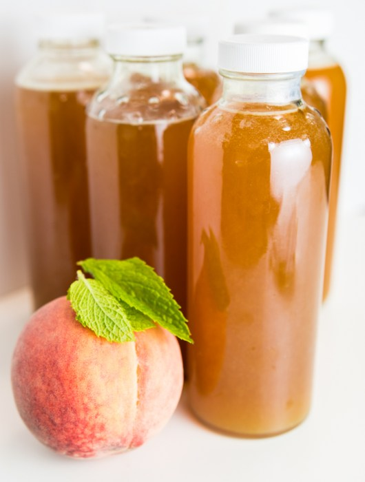Homemade Peach Mint Kombucha