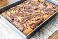 Paleo Cinnamon Chocolate Swirl Cake in a pan