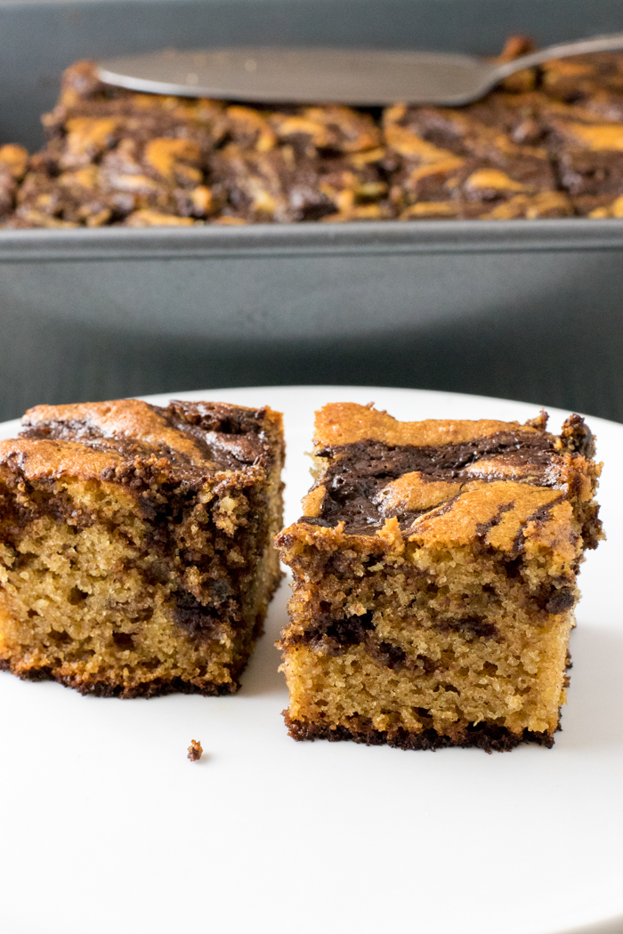 slices of paleo cinnamon chocolate swirl cake