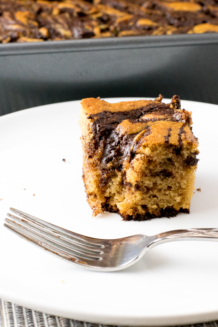 Cinnamon chocolate swirl cake on a plate