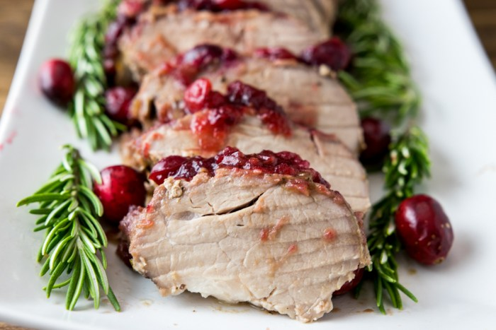 sliced cranberry pork loin