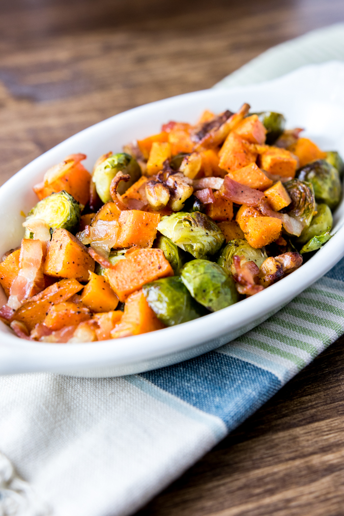 Maple Bacon Roasted Brussel and Sweet Potatoes on platter