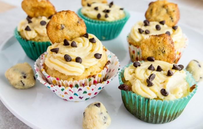 paleo cookie dough cupcakes overhead shot