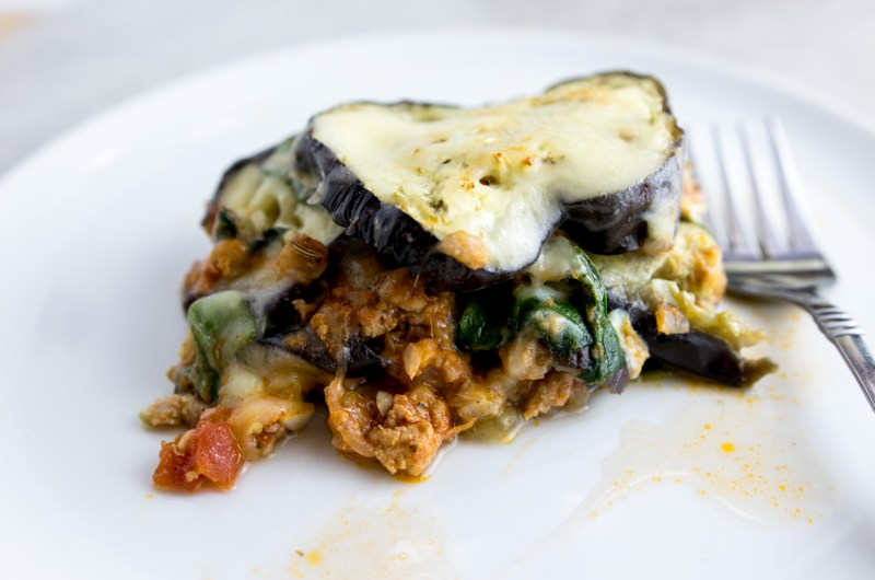eggplant spinach meat casserole on a dish