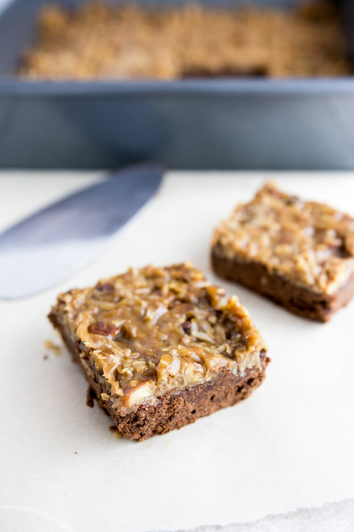 Paleo Fudgy German Chocolate Brownies served