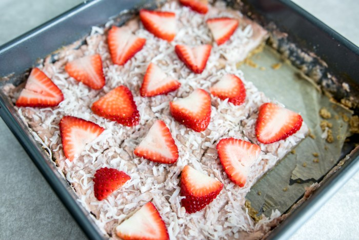 paleo strawberry coconut bars in a pan