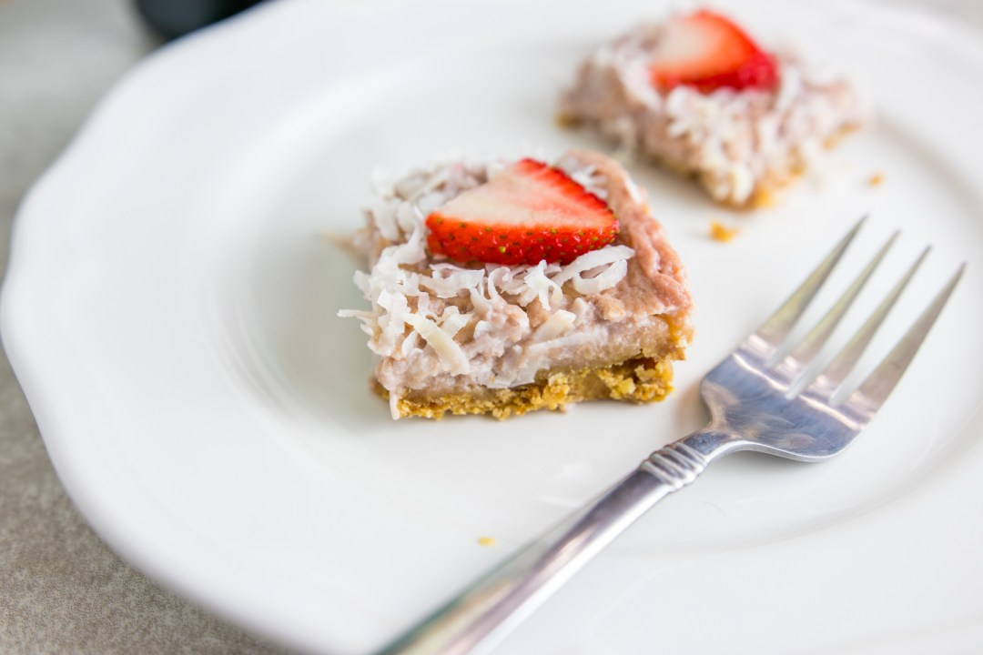 Strawberry Coconut bars on a plate
