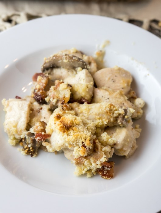 overhead of Keto Chicken Bacon Mushroom Casserole