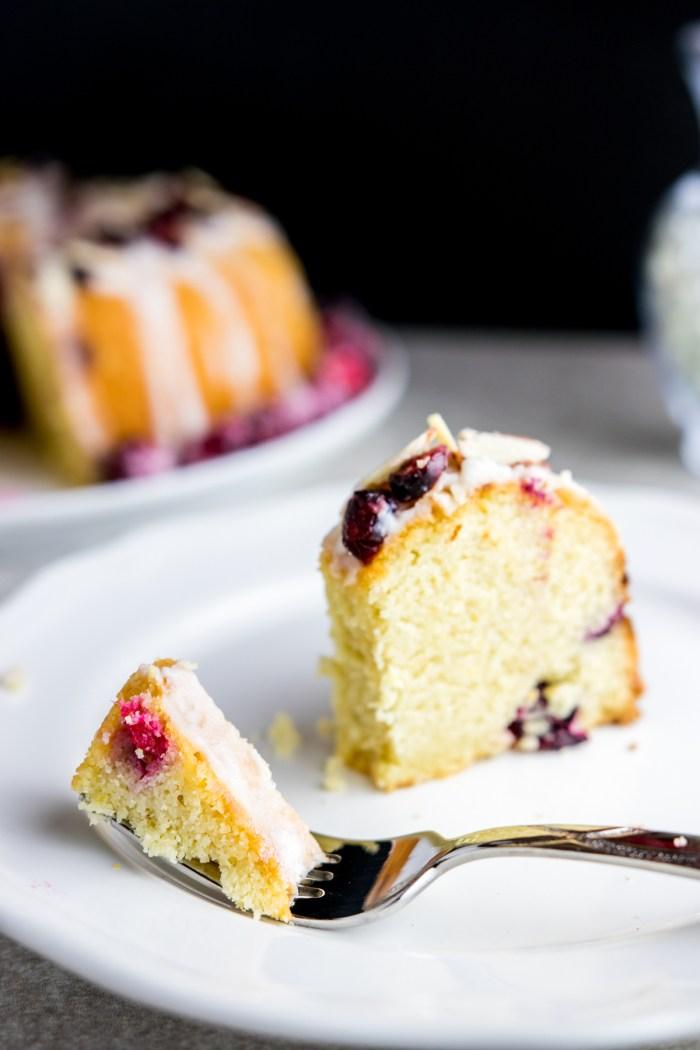 bite of cranberry orange almond cake