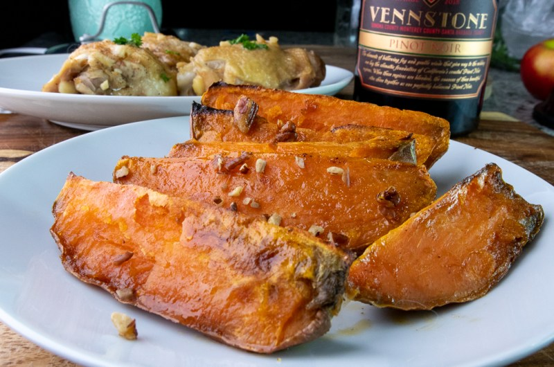 maple pecan roasted sweet potatoes