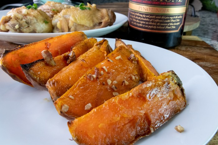 Roasted maple pecan sweet potato wedges