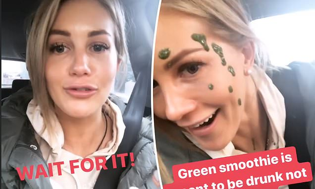 The Bachelorette's Ali Oetjen accidentally spills green juice on her face