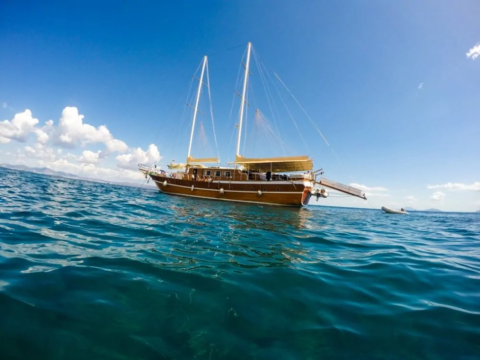 wide view of a luxury sailboat from the water