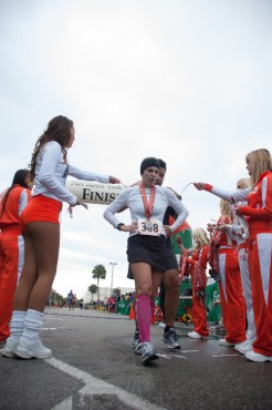 runner getting medal