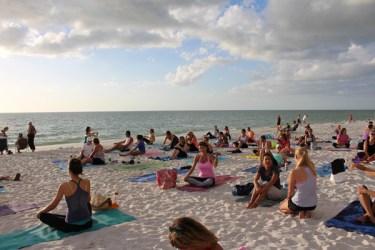 sunset yoga on the beach