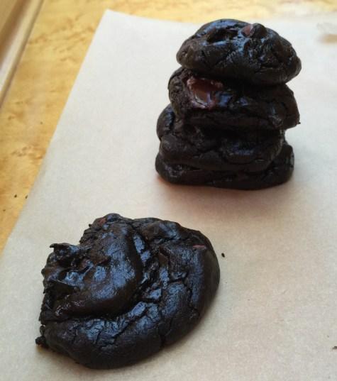 dark chocolate cookies stacked