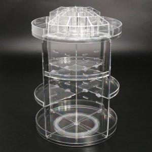 3 Tier Acrylic Cosmetic Makeup Jewelry 360° Rotating Storage Organizer Case