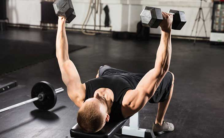 Man Doing The Incline Bench Fly Exercise For Chest