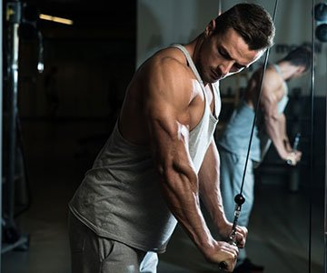Man Training His Triceps High Intensity Work Out