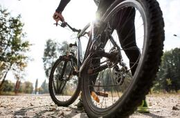 Man Using Mountain Bike For Fitness