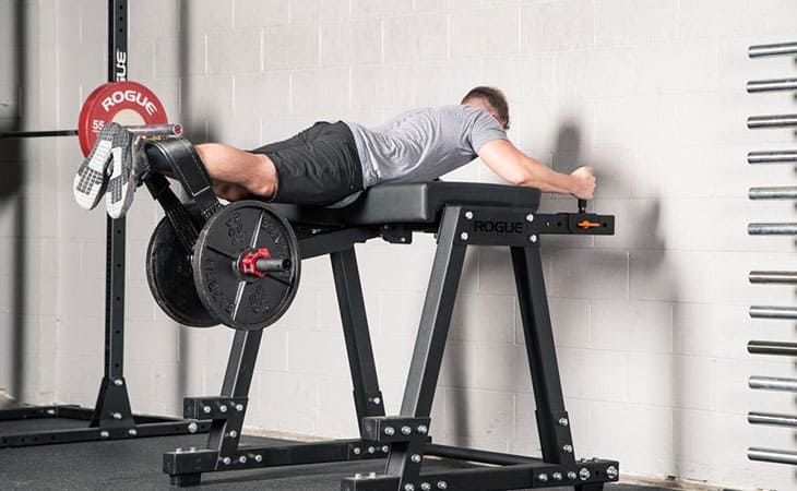 Man Working Out Using Reverse Hyperextension Machine For Fitness
