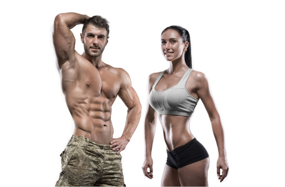Man and woman showing muscles