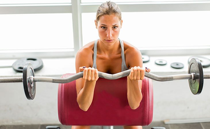 Woman Working Out Biceps