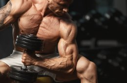 Muscular Man Showing Biceps Working Out