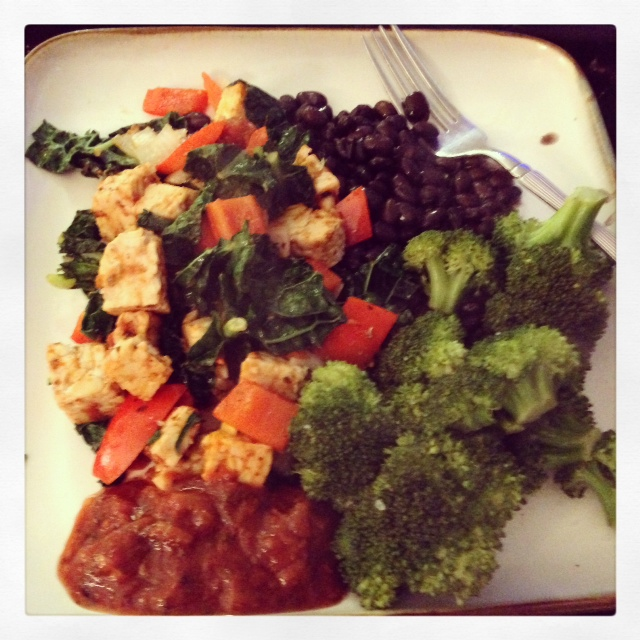 Kale, Tempeh, Red Pepper, Onion Saute with Black Beans and Broccoli