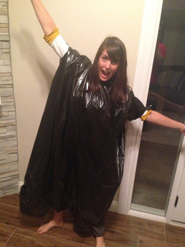 Trash bag poncho!