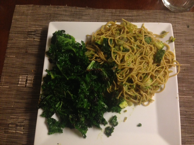 Zucchini pesto pasta and kale