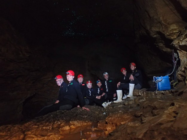 The whole group inside the cave
