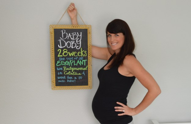 pregnancy update with chalkboard