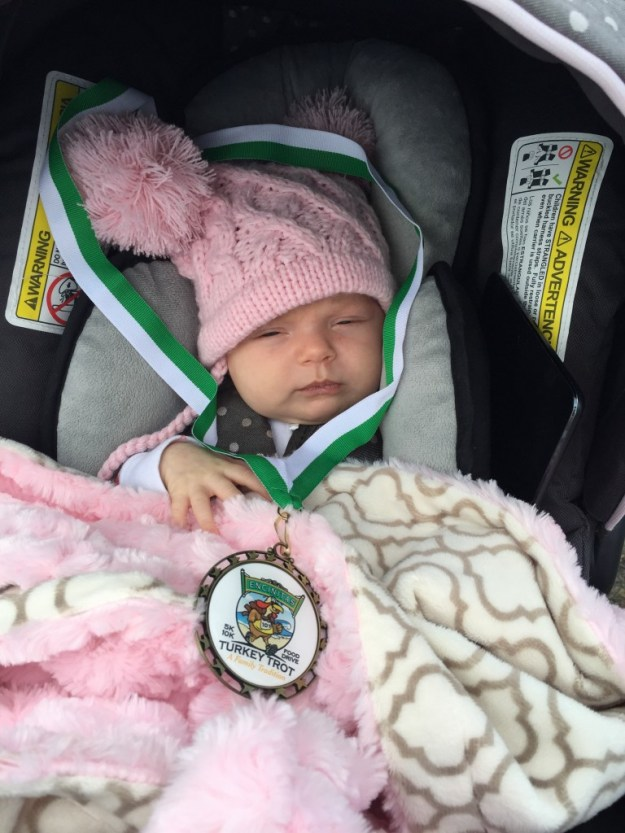 She opened her eyes for a second when she got her medal
