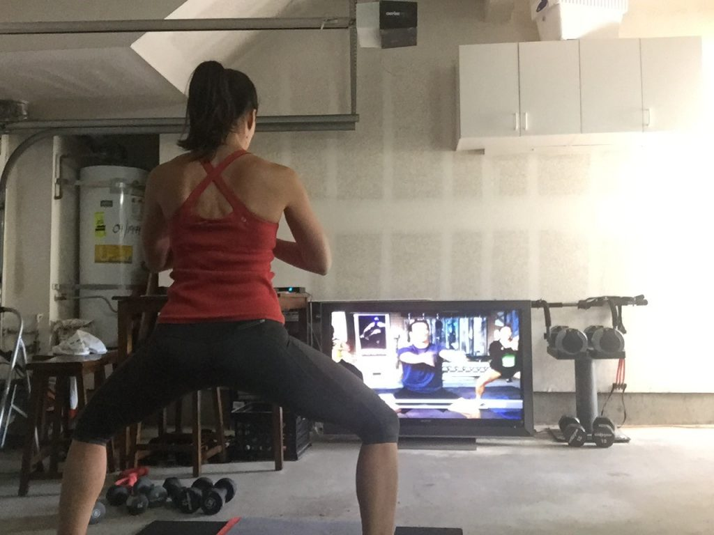 Working out in my garage instead of a beautiful yoga studio