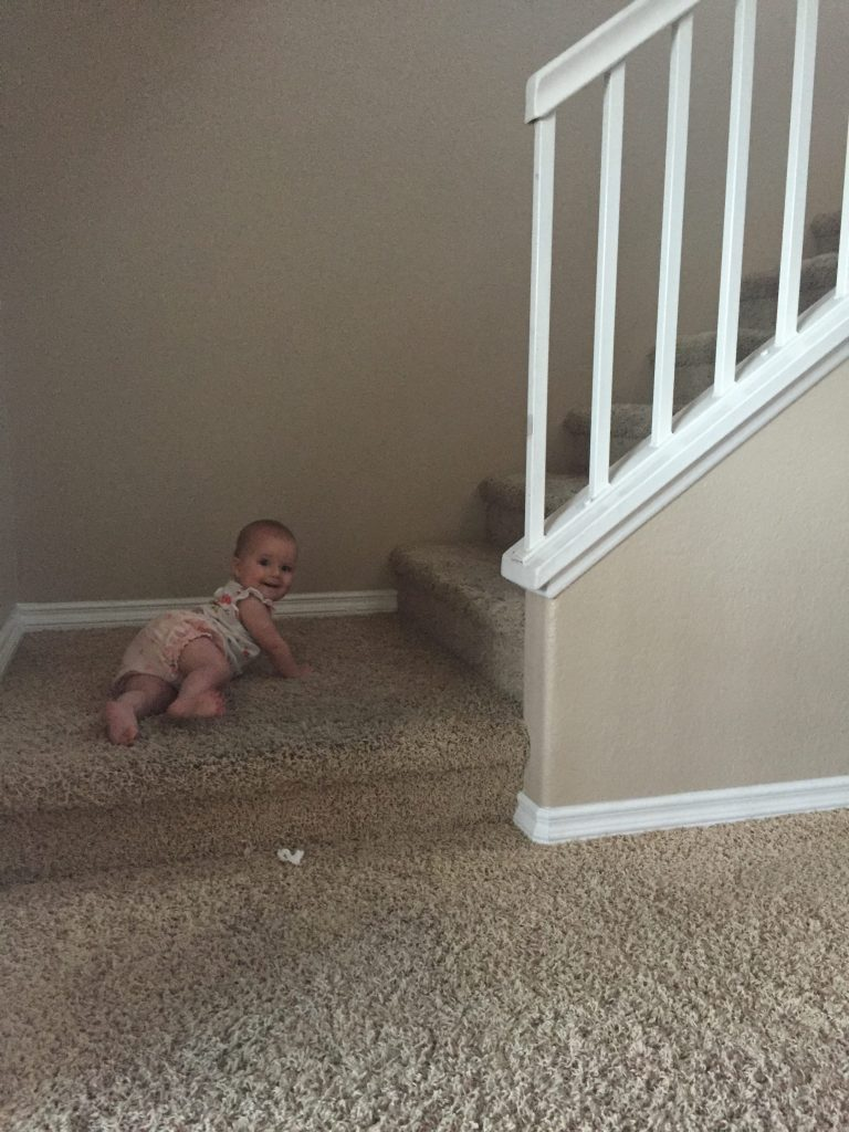 Um hello mom, are you going to follow me up these stairs?